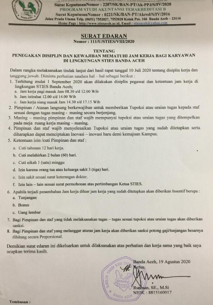 Penegakan Disiplin Jam Kerja Karyawan Sties Banda Aceh